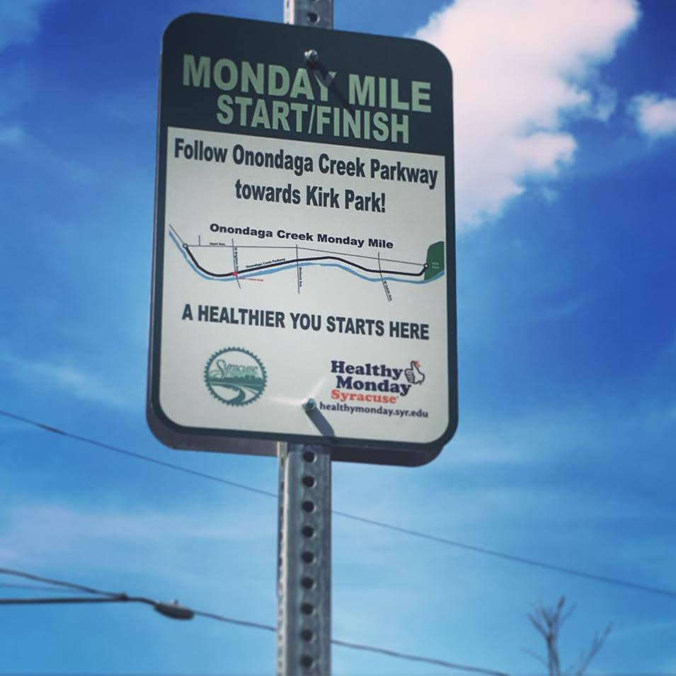 Monday Mile sign at Onondaga Creek Parkway