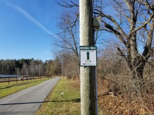 Monday Mile sign along the track in DeRuyter, NY