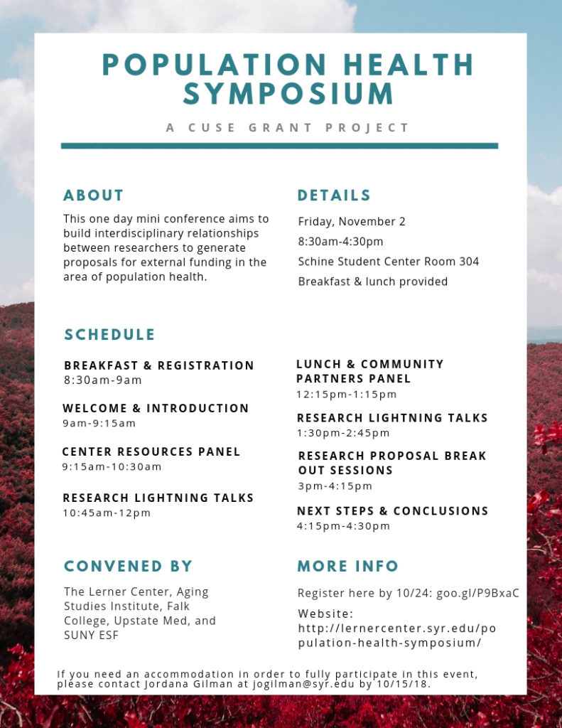 flyer for Population Health Symposium