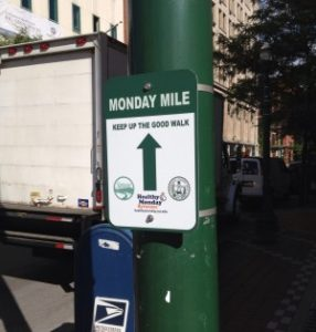 Monday Mile Downtown Route Sign