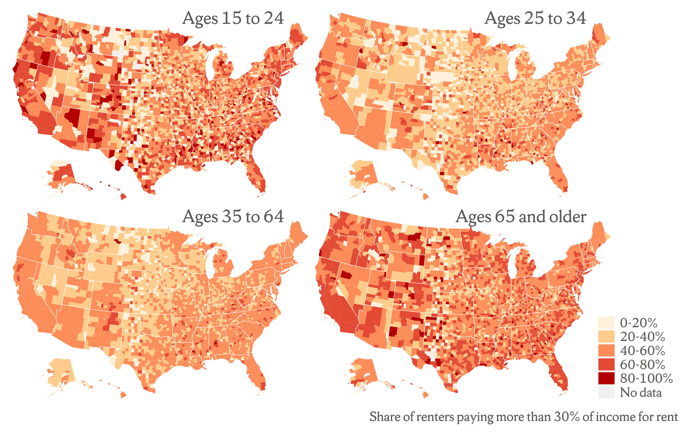 Figure 1. Large Shares of Young and Older Adult Renters Spend More than 30% of their Income on Rent
