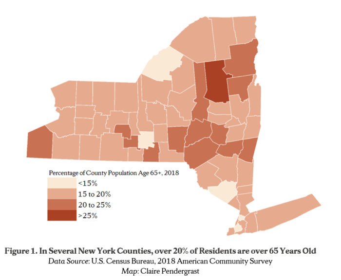 Figure 1. In Several New York Counties, over 20% of Residents are over 65 Years Old