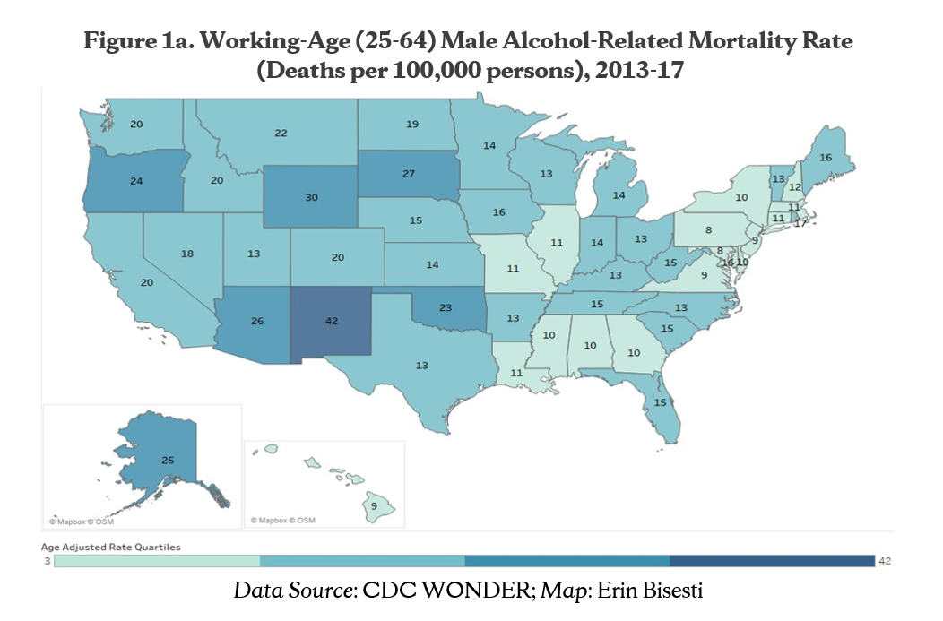 Figure 1a. Working-Age (25-64) Male Alcohol-Related Mortality Rate