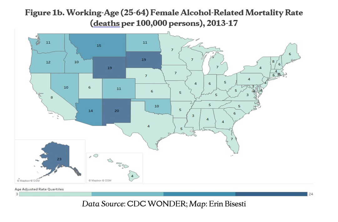 Figure 1b. Working-Age (25-64) Female Alcohol-Related Mortality Rate (deaths per 100,000 persons), 2013-17