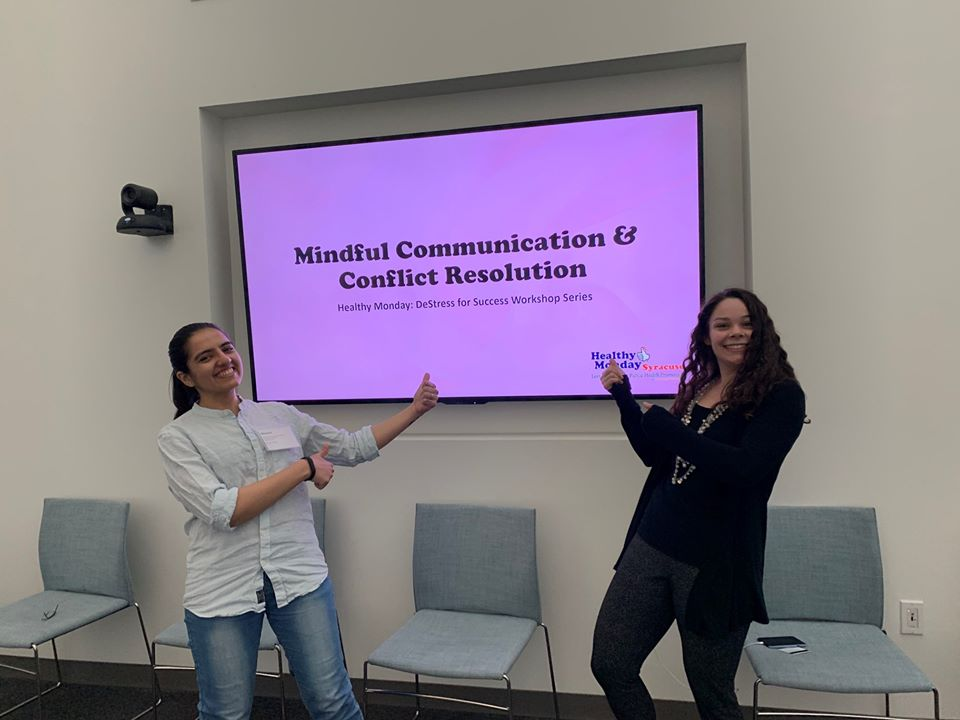 Program Coordinator Mary Kate Lee and Grad Student Bhoomi Thakkar co-facilitate the Mindful Communication workshop.