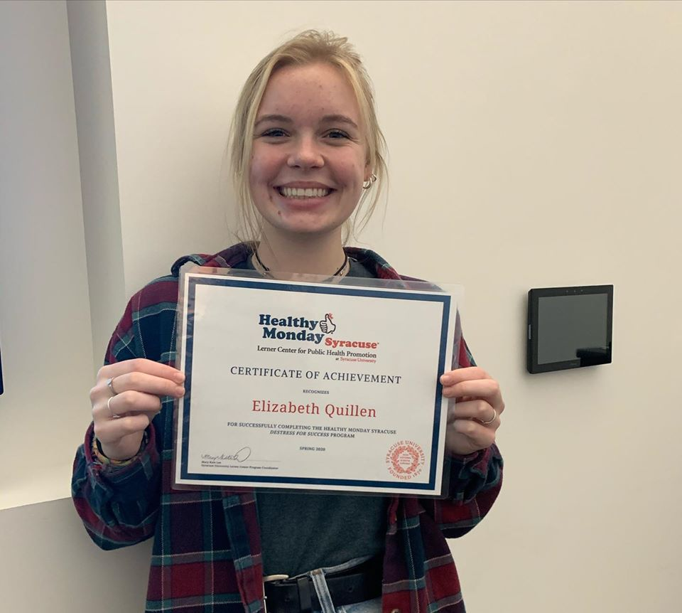 inaugural student earns destress for success certificate